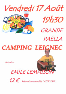 Paella camping Leignec 17-08-2018
